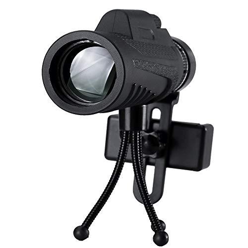 Allibuy Telescopio Ottico 40x60 Ultra monocular óptico de la Lente luz de la Noche Baja visión de HD Telescopio + Clip + trípode for el teléfono (Color : Negro, tamaño : C=40x60)