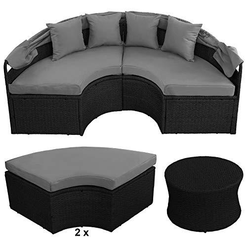 BB Sport 13-teilige Polyrattan Lounge Muschel Sonneninsel Sonnendach Klappbar Zierkissen Auflagen 10 cm Dicke, Farbe:Titan-Schwarz/Kieselstrand - 5