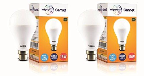 wipro 15 Watt B22 LED Cool Day Light Bulb (White) - Pack of 2