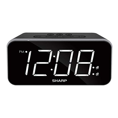 """Sharp Dual Alarm with Jumbo Easy to Read 1.8"""" White LED Display with Black Case – 3 Step Dimmer Control – Dual Alarms, Set Two Alarm Times - Battery Back-up – SPC736A"""