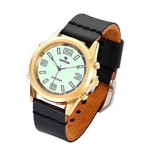 MEACOM Reloj de pulsera parlante en alemán, de acero inoxidable, con esfera luminosa, correa de piel auténtica, función de voz, para edad, ciego, óptico, color dorado y negro