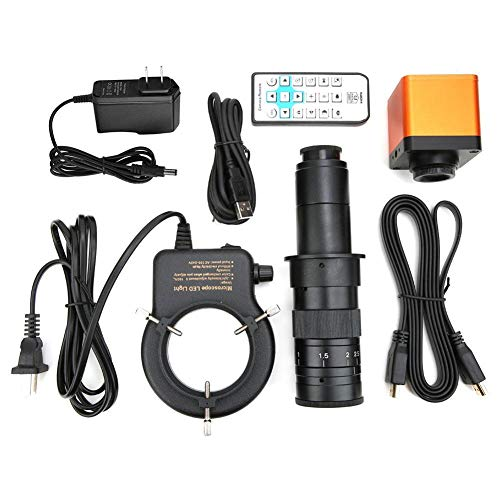 34MP Microscope Camera, 180X Full HD 56 LED Digital Industrial Camera Set HDMI USB2.0 Two-Way Output 1920x1080 High Resolution Video Camera Magnifier Support for PC Links/Windows XP/7/8/10 System(US)