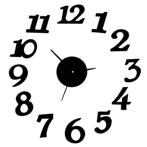 Tabpole Reloj de pared con números 3D y superficie de espejo para decoración del hogar y la oficina