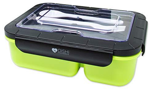 OISHI LUNCHBOX YUMMY - Bento Box 1500ml + Besteck - 3 Fächer - BPA-Frei & auslaufsicher - Spülmaschine Mikrowelle & Gefrierschrank - Brotdose für Kinder & Erwachsene (Yummy Green)