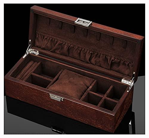 CHXISHOP Caja de joyería vintage caja de almacenamiento de madera caja de reloj anillo pendientes pulsera caja de almacenamiento caja de joyería adecuado para mujeres y hombres marrón