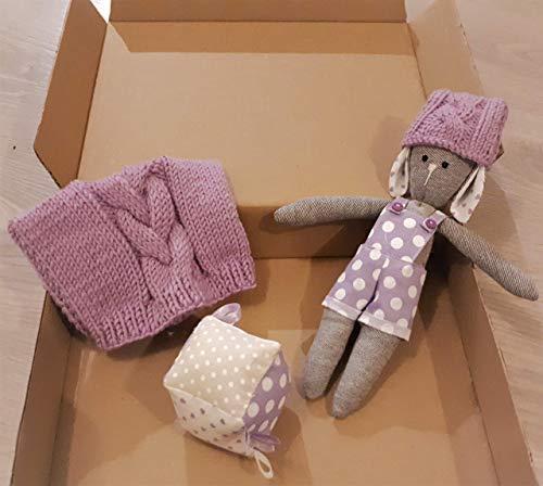 Set regalo neonato coniglietto lilla