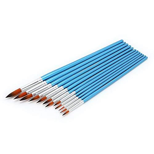 HEEPDD Waterverf Penseel Set, 12 stks Blauwe Paal Professionele Ronde Punt Tip Aquarel Borstel Set Verschillende Vorm Nylon Haar Aquarel Acryl Schilderpenseel