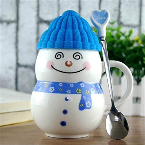 PINGZIJIA Netter Schneemann überfällt Geschenk Kaffee Milch Schalen keramische Tee Schale reizende Kindergeburtstags Geschenk Tasse mit Löffel @ E