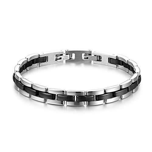JewelryWe Schmuck Damen Armband Edelstahl Keramik I Rechteck Link Gliederarmband Armkette Armreif Schwarz Silber