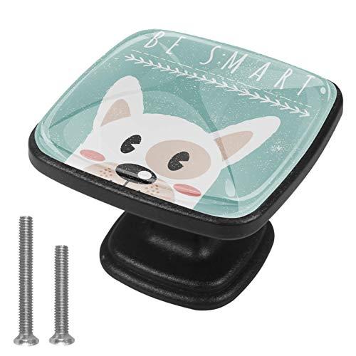 Juego de 4 tiradores de cajón y pomos para cajones con tornillos de cristal para cajón, gabinete, tirador para puerta de cocina, armario de puerta de cocina, perro inteligente