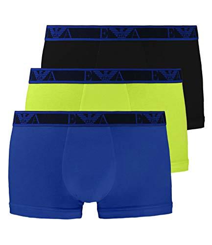 Emporio Armani Logo Stretch Baumwolle 3-Pack Stamm, Kalk/Marine/Roy Blau Medium (32 Multi