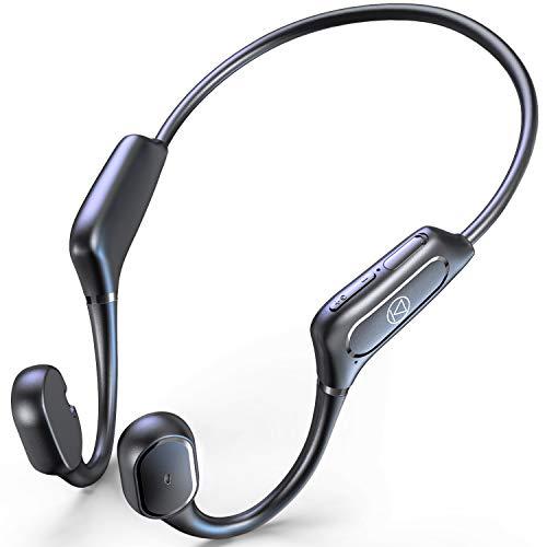 骨伝導イヤホン 【Qualcomm aptXに対応 最新Bluetooth5.1技術】 Bluetooth イヤホン スポーツ仕様 ワイヤレスイヤホン 12時間超長再生 ブルートゥース イヤホン Hi-Fi 超軽量 耳掛け式 両耳通話 CVC8.0ノイズキャンセリング 防水機能 AAC対応 一年間保証付き (ブラック)