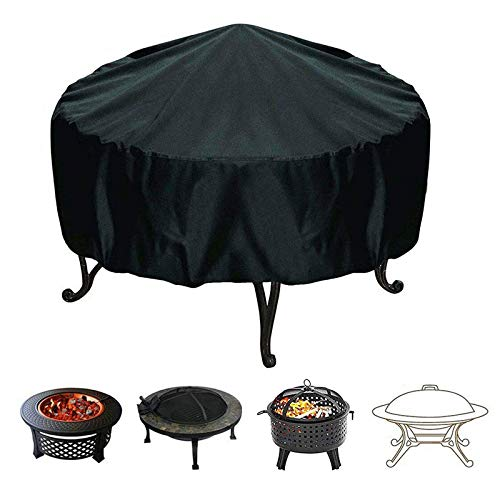 Ledph Fire Pit Covers, Black Round Waterproof Windproof Dust-Proof Garden Patio Protective Cover With Drawstring, 210d Oxford Fabric Fire Bowl Cover For Outdoor Bbq Oven Fire Stove,92 * 30cm