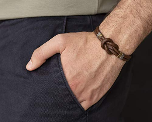 Men's Bracelet, Genuine Brown Leather Infinity Celtic Knot Cuff, Tribal Boho Jewelry, Handmade Wrist Band for Guys by Magoo