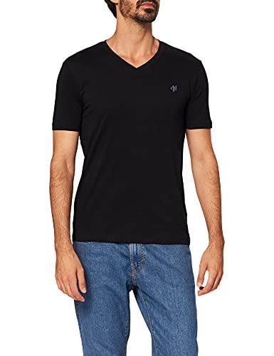 Herren T-Shirt mit kleinem Logo-Print, bequemes Oberteil aus Bio Baumwolle, klassisches Kurzarmshirt mit V-Ausschnitt