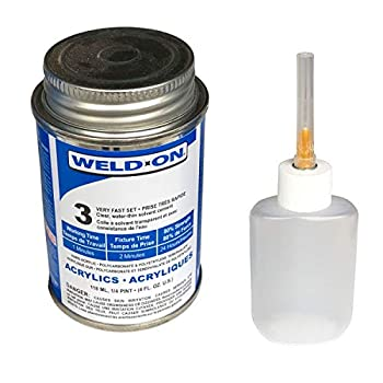 IPS Weld-On 3 Acrylic Plastic Cement with Weld-On Applicator Bottle with Needle 4 oz Can Clear