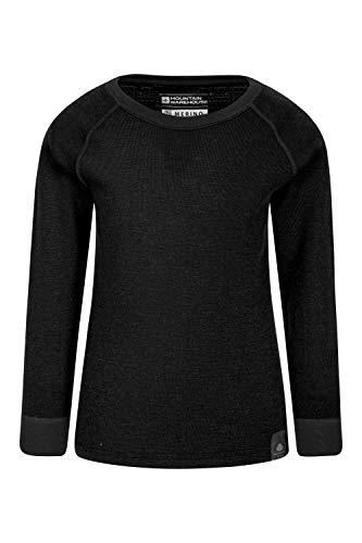 Mountain Warehouse Camiseta térmica Lana Merino para niños con Cuello Redondo - de Mangas largas, cálida, Transpirable, Camiseta para niños de Secado rápido Negro 2-3 Años