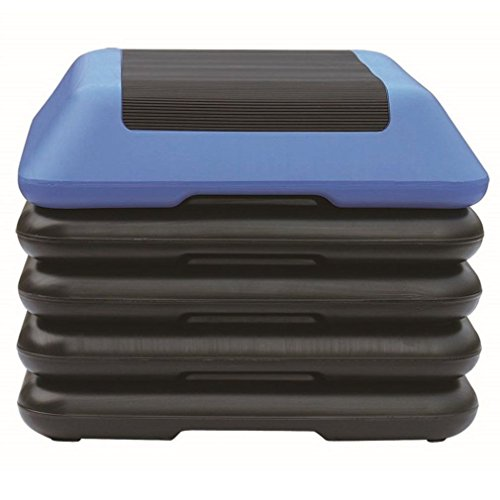 """KLB Sport 16"""" x 16"""" Adjustable Workout Aerobic Stepper in Fitness & Exercise W/4 Risers (Blue & Black)"""