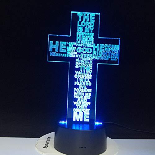Solo 1 pieza Jesucristo Cruz USB 3D LED Luz de noche Regalo Lámpara de mesa Dormitorio Maestro es Mi pastor Lámpara de libro de la Biblia