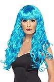 Smiffy'S 42260 Peluca De Sirena, Larga, Rizada Con Flequillo, Azul, Tamaño Único