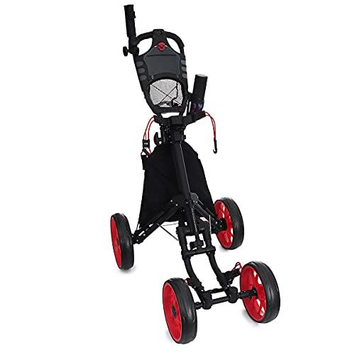 NGHSDO Carros De Golf Trolley de Golf de aleación de Aluminio Plegable 4 Ruedas Bolsa de Golf Pull Push Cesta Soporte de la Taza de sombrilla Trolley Ajustable con Freno de pie Carro De Golf