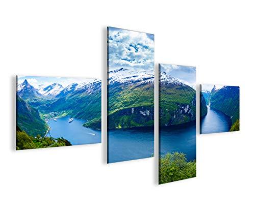 Quadro moderno Fiordi V2Noruega 4LP Impresión sobre lienzo–Quadro X sillones salón cocina muebles oficina casa–Fotográfica Tamaño XXL