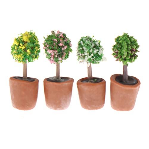 TIANTIAN 4 Stück Puppenhaus Miniatur Blumen Topf, Mini Künstliche Bonsai Pflanzen Modell Miniatur Puppenstubenmöbel Garten Zubehör Ornament Dekoration für Kinder 1:6/1:12