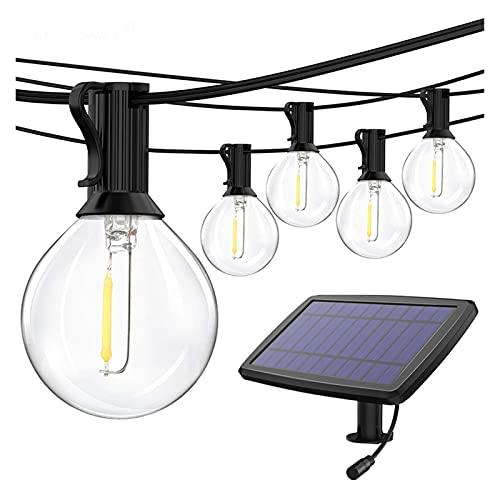 XinQing-Luz Solar para jardín Cuerda de luz Solar al Aire Libre Impermeable para la terraza de jardín Luces de decoración de la Boda de Vacaciones, con Carga USB 25 Bombillas LED, luz cálida