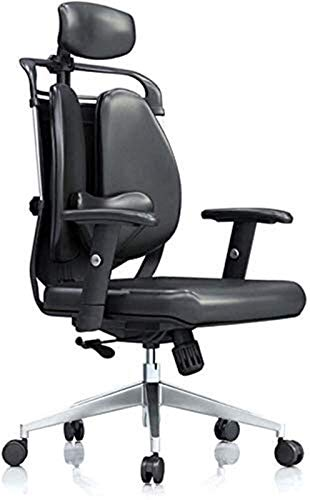 HIZLJJ Office Chair Executive Swivel Office Chair High Back PU Leather Office Computer Chair Soli Color Gaming Chair Manager Work Chair (Color : Black, Size : 116x70x68cm)