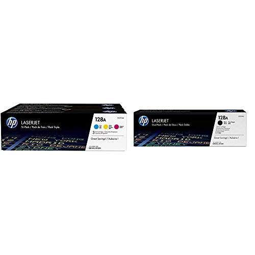HP 128A (CF371AM) Cyan, Magenta & Yellow Original LaserJet Toner Cartridges, 3 pack and HP 128A (CE320AD) Black Original LaserJet Toner Cartridges, 2 pack Bundle