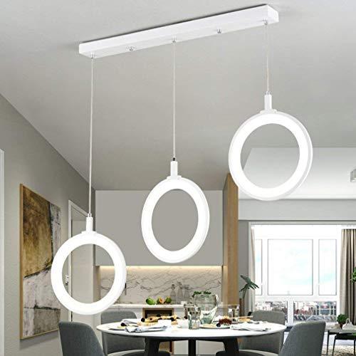 Inicio calentar LED de la lámpara moderna que cena la tabla de la lámpara de acrílico moderna Lámpara Lámpara Restaurante Sala de techo Dormitorio Blanco Estudio de hierro redondo decorativo Luz Blanc