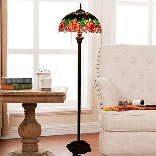 Dekorative Stehlampe Magische Beleuchtungsoptionen Moderne Stehlampe Raumleuchte Tiffany-Stil Bodenleuchten Europäischer Stil Buntglas Rose Blume Stehlampe mit Tretschalter Moderne Innenbeleuchtung Su