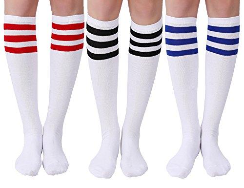 Joulli Women's Casual Stripe Knee High Socks 3 Pairs, White Mix