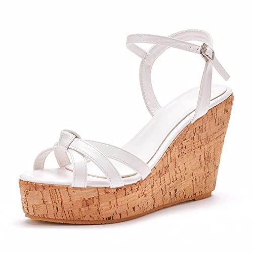 Zapatos De Novia Para Mujer,Grano De Madera Punta Redonda Plataforma De Agua...