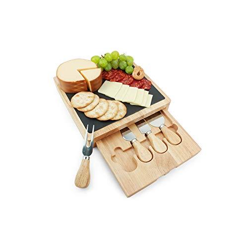 Kptn Kitchen Tabla de queso con cuchillo de queso, 4 piezas, bandeja de bambú y pizarra, 24 x 24 x 3 cm