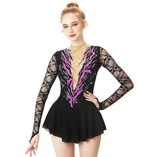 Vestido de patinaje artstico para mujer, hecho a medida, color negro, 14