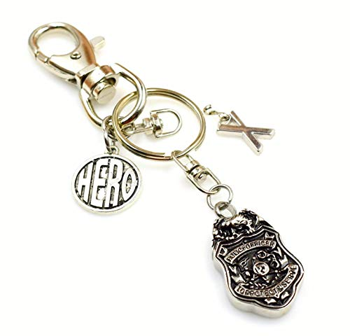 Police Officer 1st Responder Hero Cremation Urn Momento Car Key Chain Accessory Memorial Men in Motion Keychain Initial