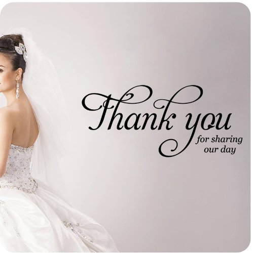 Thank You for Sharing Our Day Wall Decal Wedding Anniversary Celebration Party Gift Dance Floor Quote Large Sticker ART Mural Large Nice Bride Groom Love Decoration Decor