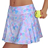 RainbowTree Women's Pleated Tennis Skirt Elastic Quick-Drying Skort with Side Inner Pocket Running Short, Rainbow3, Large