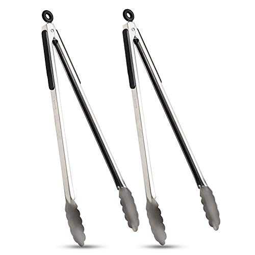 VOXLOVA Premium Locking Grill Tongs Set of 216 inch Heavy Duty Long Kitchen BBQ Tongs for Barbecue Cooking Grilling Stainless Steel amp Dishwasher Safe