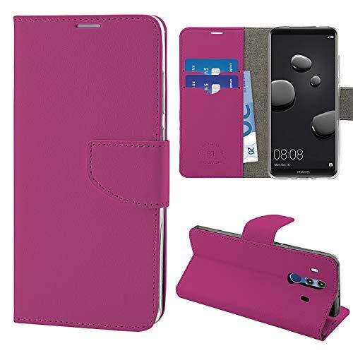 N NEWTOP Cover Compatibile per Huawei Mate 10 PRO, HQ Lateral Custodia Libro Flip Chiusura Magnetica Portafoglio Simil Pelle Stand (Fucsia)