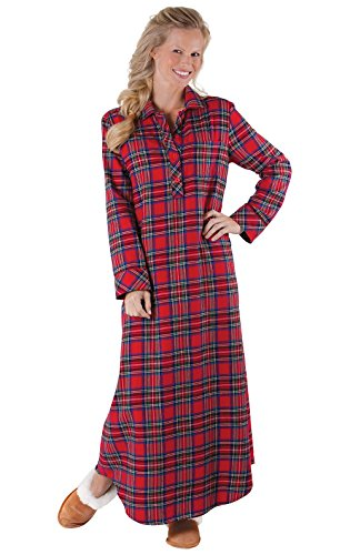 PajamaGram Women's Flannel Nightgown Plaid - Nightgown Womens, Red, XL, 16