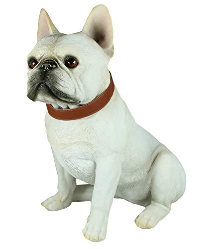 colourliving Französische Bulldogge Figur Carlos mit Halsband Tierfigur lebensecht wirkende Skulptur Gartenfigur Hundefigur Bulldogge