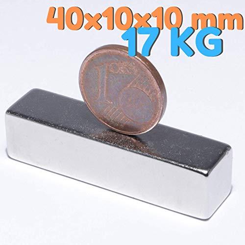 Neodym Magnete Extra Stark Quader 40x10x10mm - 17 Kg Powermagnet - Neodym Magnet 40mm - Quadermagnet 40 x 10 x 10 mm - N52 Stark Neodym-Magnete (1 Stück)