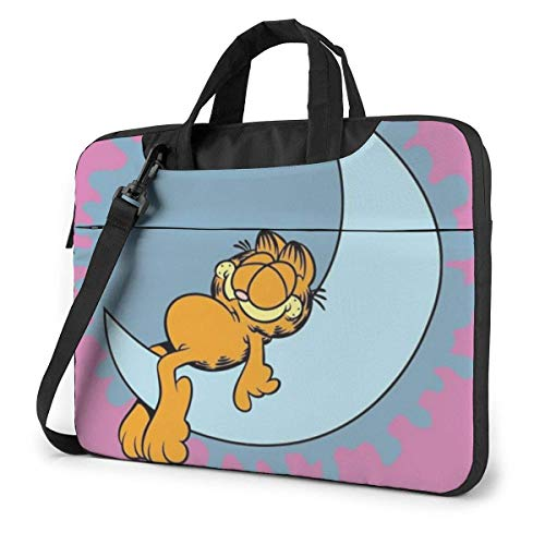 Cartoon Garfield Laptop Bag Laptop Menger Bag, Laptop Shoulder Bags Polyester Menger Carrying Briefcase Sleeve with Adjustable Depth at Bottom 15.6 inch