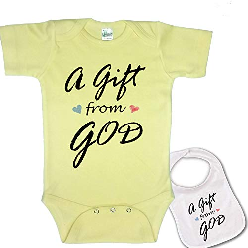 A Gift from God Cute Custom Boutique Baby Bodysuit Onesie & Matching bib Yellow - http://coolthings.us