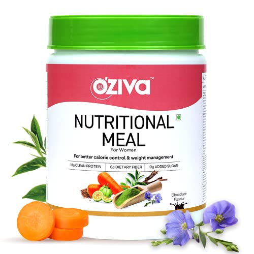 OZiva Nutritional Meal Women (High in Protein with Ayurvedic Herbs like Shatavari, Brahmi,Ginseng, Flax Seeds) for Weight Management, Meal Replacement Shake, Chocolate,500g