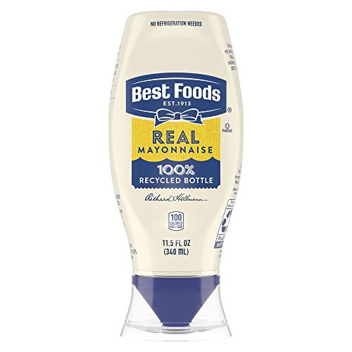 Best Foods Real Mayonnaise Squeeze Bottle Made from 100% Recycled Plastic, No-Mess Cap, Made with Cage Free Eggs, Gluten Free, 11.5 oz, Pack of 12