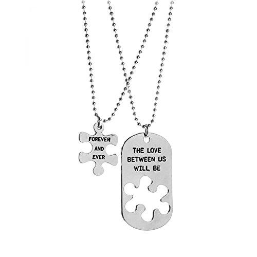JUNGEN Paar Halskette Metall Kettenanhänger Briefe Stichsäge Kette Schmuckset Zubehör