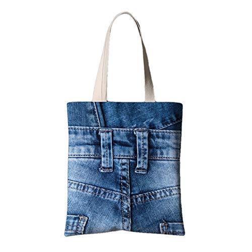 fonxoy-Storage bag Reutilizable Ligero Bolsas De Supermercado Para Compras Viajes Jeans Estampados Creativos Bolsa De Lona Hombro Bolsa De Compras Portátil